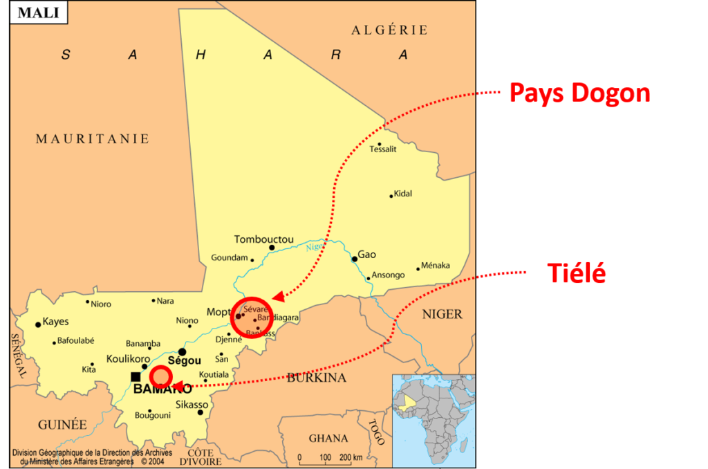 Carte du Mali et zones d'intervention de Dogon Nature